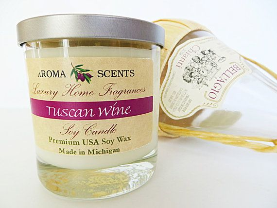 Tuscan Wine Candle  Soy Candles  Handmade Gifts  by AromaScentsLLC