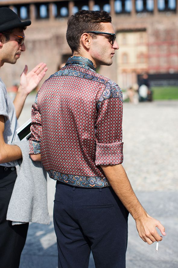 The Sartorialist, printed shirt in Milan | Men's Fashion | Menswear | Men's Apparel | Men's Outfit | Shop at designerclothingfans.com