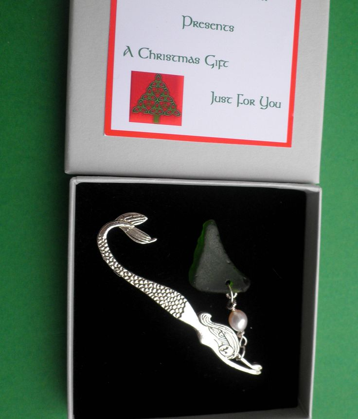 Celtic Bookmark of Mermaid with Celtic Knot Charm and Seaglass or Mermaid's Tear. Boxed Chritmas Gift
