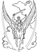 Pegasus With Hercules  Coloring page