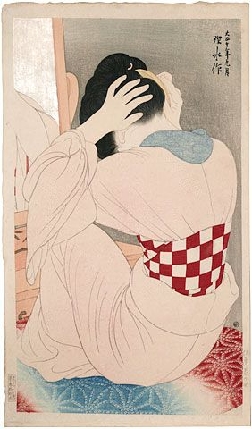 'Woman Wearing an Under-Sash' (1921) by Japanese painter & woodblock printmaker Ito Shinsui (1898-1972). Woodblock print. via Scholten Japanese Art