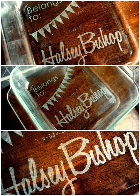 Etched baking dishes