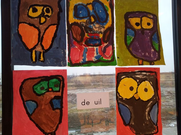 Via @kleuterklasse: deze uilen heb ik met 4-5-6 jarigen gemaakt tijdens het thema over de Tovenaarsleerling. De directie vond ze zó mooi dat we er nog drie op bestelling (op canvas) gemaakt hebben voor in het directie...