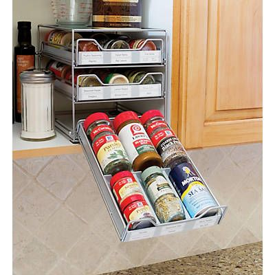Lipper 3 Tier Tilt Down Spice Drawer - silver grey (8720)