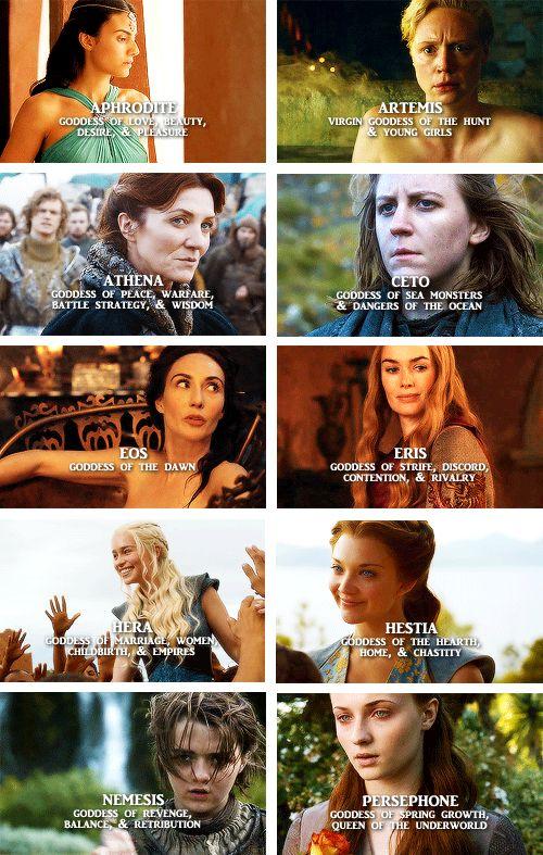 A Song of Ice and Fire Ladies as Greek goddesses. Arianne Martell, Brienne of Tarth, Catelyn Tully, Asha Greyjoy, Mellisandra, Cersei Lannister, Daenerys Targaryen, Margeary Tyrell, Arya Stark and Sansa Stark.