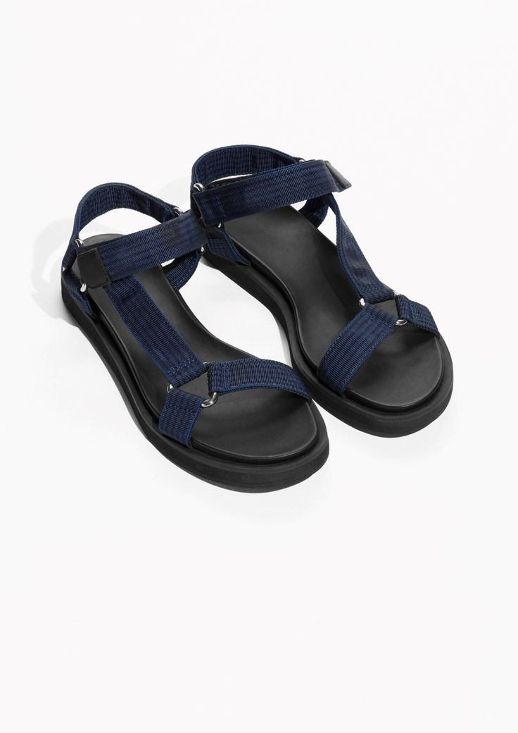 & Other Stories image 2 of Velcro Strap Sandals in Blue