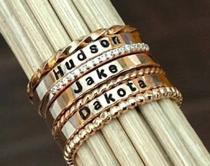 Name Rings Rose Gold Stacking Rings Set Personalized Stackable
