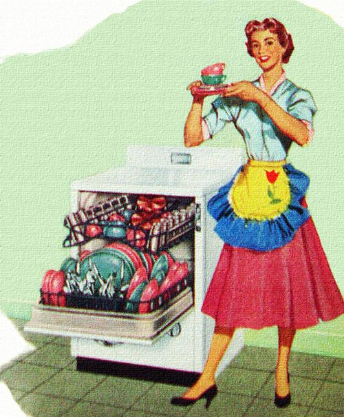 Retro Woman In Kitchen: Emptying The Dishwasher... In A Yellow And Blue Half-apron