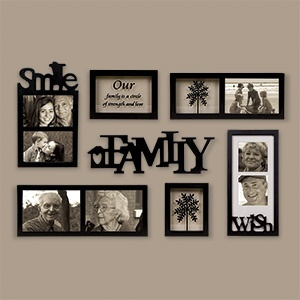 Family Gallery of Frames - 7 Piece Set  $49.98      Product # SM97438 - Wondering how to display your favourite photos? This collection of frames is here to help! Simply add your pictures, and arrange the frames  theme word into a gallery on the wall. Features frames for 2 - 5x7, 3 - 4x6, and 2 - 4x4 photos, plus includes 2 expression prints: elegant family tree and Our family is a circle of strength and love. Made of MDF with sat