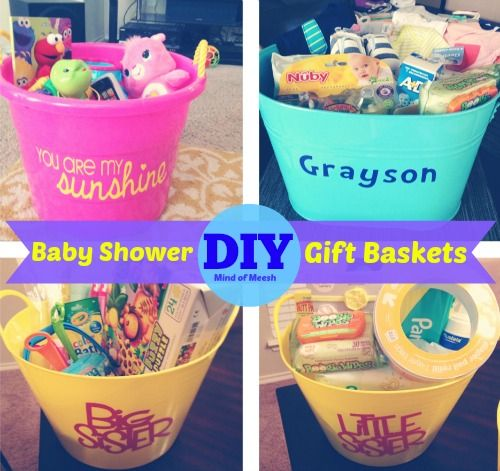 DIY Baby Shower Gift Baskets using Silhouette to personalize | Mind of Meesh