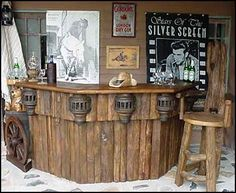 Rustic Teak Outdoor Home Bar