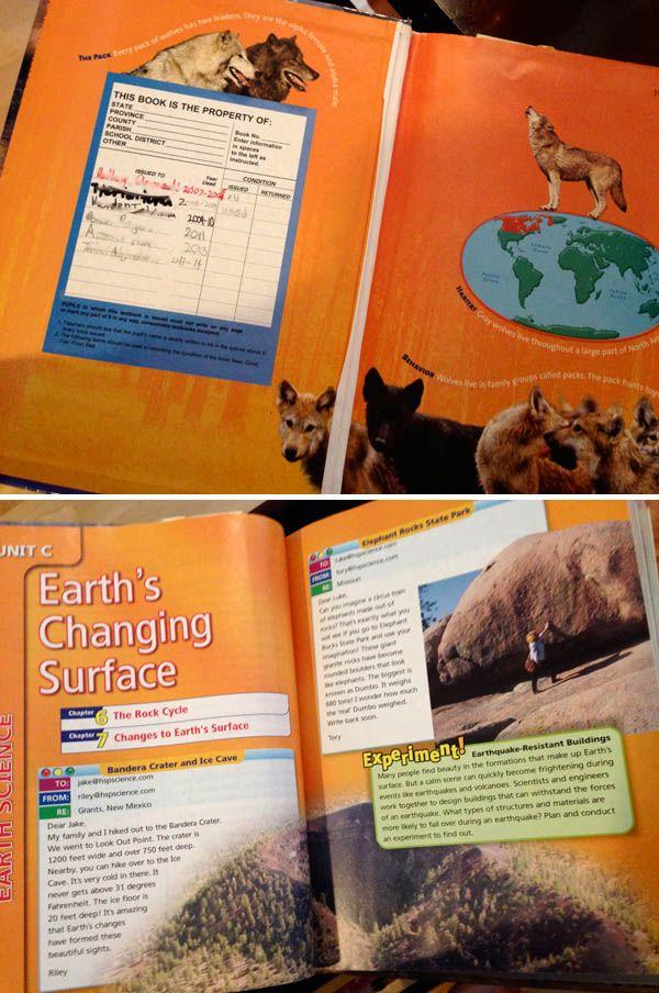 今日は宿題が多くてひぃひぃ言っていた長男。 Science(理科)とSocial Study(社会)の宿題がある日はいつもこうなんです。 写真はScienceの教科書。 長男の宿題を端から見ていて毎回思うのが、教科書がなんだかすごーく面白そう〜! カラフルで写真が多くて、図鑑みたい。 そして面白いのがこちらの教科書、毎年自分用に新しく買うという仕組みはなくて、すべてレンタルなんです。 このScienceの教科書は2007年から今まで6人の生徒が使っていました。 しっかりとした内容の分厚いものを作って毎年違う生徒が大事に使う。 ディスポーザルが大好きなアメリカの割には、なかなかいいシステムだと思います。笑 写真や絵がカラフルでほんとに目にも面白い教科書なんですが、内容がとにかく濃くて難しい。 既にこのあたりのボキャブラリーについては、息子に完全に追い抜かされました・・・。 が、心配なのはやっぱり日本語。 先日ご紹介した日本語補修校では理科・社会はやらないので、新しく覚える理科・社会用語はまったく知らないことになるんですよねぇ。 いやー、バイリンガル教育は難しい!!…