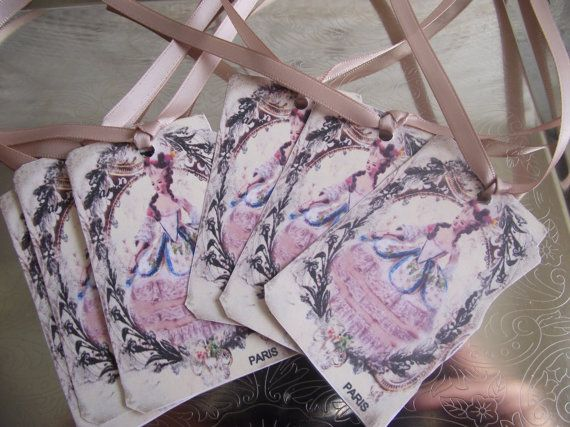 Marie Antoinette  Gift Tags Adorn With Rose by ShoppeLaFluer, $5.00