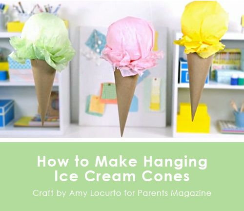 Hanging Ice Cream Cone Craft. Party Ideas {Parents Magazine Feature} LivingLocurto.com