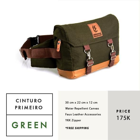 CINTURO PRIMEIRO GREEN  IDR 175.000  FREE SHIPPING ALL OVER INDONESIA    Dimension: 30 cm x 22 cm x 12 cm 8 Litre   Material: High Quality Canvas WR Faux Leather Accessories Leather Accessories YKK Zipper  #GoodChoiceforGoodLooking