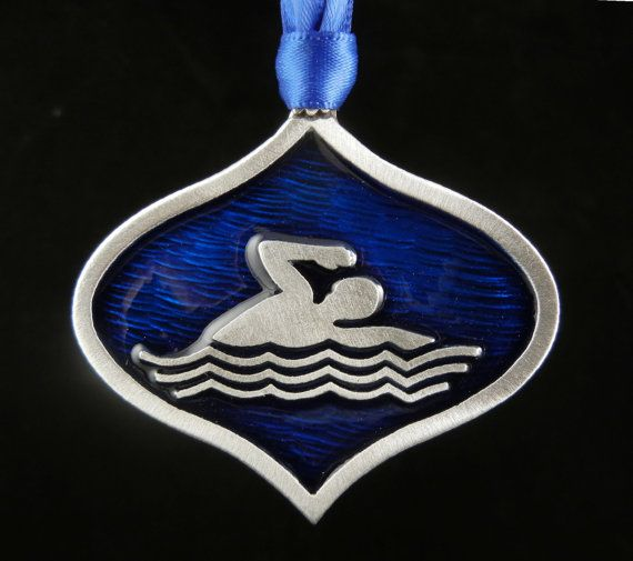 Swimmer Christmas Ornament in Fine Pewter made in by treasurecast, $12.98