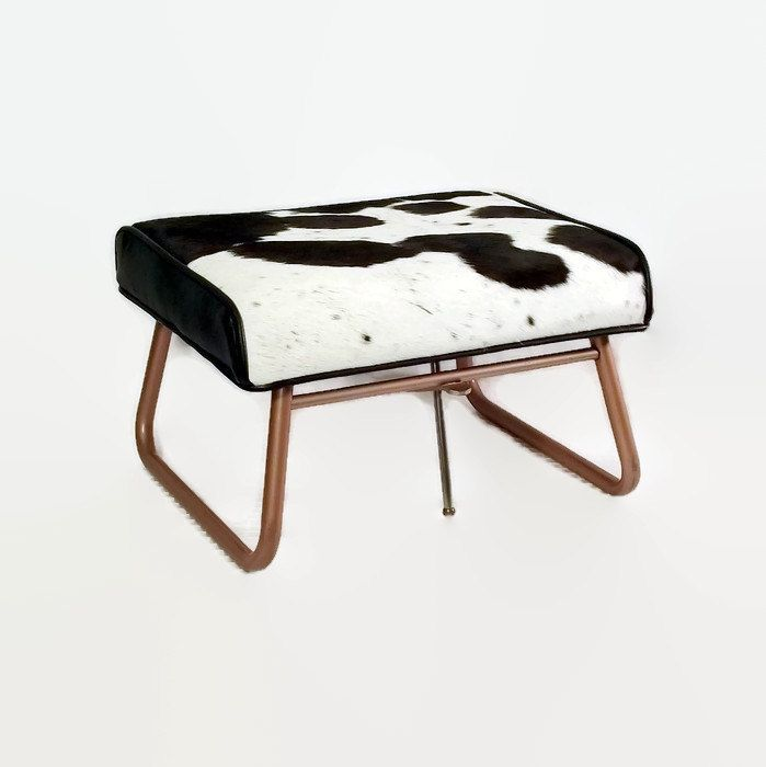 Mid Century Footstool - Adjustable Hassock - Leather Ottoman - Laz E Rest - 1950s Furniture - Upcycled - Cowhide - Black and White by CityBeepster on Etsy