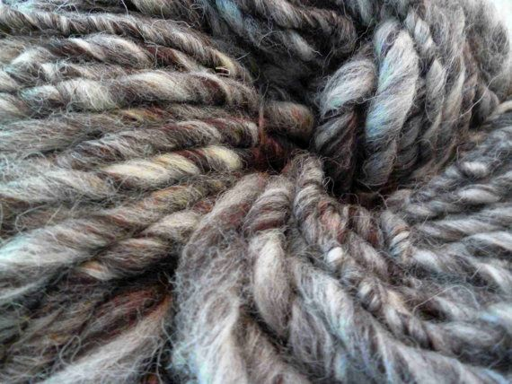 Handspun yarn 100g (approximately 3.5 ounces) super bulky yarn, Jacob humbug yarn spun from British wool.  This is a gorgeous natural, undyed blend