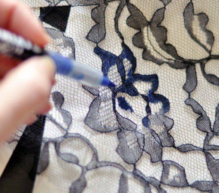 jean dentelle, utiliser des crayons bleus en nuances différents pour un effet ombré