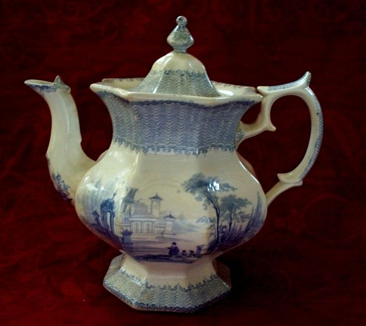 Large Antique Staffordshire Ironstone Teapot with musicians down by the river  with guitar and a Manor house in background surrounded by Italian cedar. Pattern name  'Cassino' W.Adams & son 9.25x9.5 ins wide U.S.A. c.1850