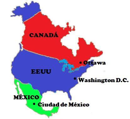 Mapa con los países y capitales de América del Norte América del Norte o Norteamérica es el subcontinente americano más septentrional. Aunque abarca un vasto territorio, está formado por tan solo 3 países oficiales: Canadá, los Estados Unidos de América y México.