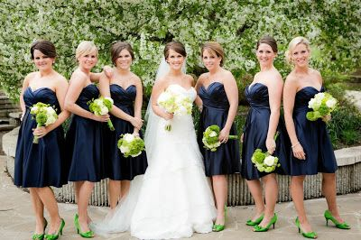Erin Volante Floral: Navy and Chartreuse Wedding... But WORST shoes ever!Green Shoes, Worst Shoes, Navy And Chartreuse Wedding, Blue Dresses, Green Bouquets, Bridesmaid Dresses, Wedding Flowers, Navy Amp
