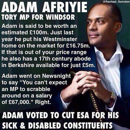 Adam Afriyie MP : Why did you vote to cut ESA Adam? Did anyone meet the £16.75m asking price for your palace?