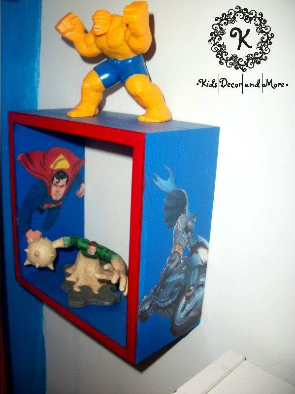 batman superman superhero cube shelf boys bedroom wall decor
