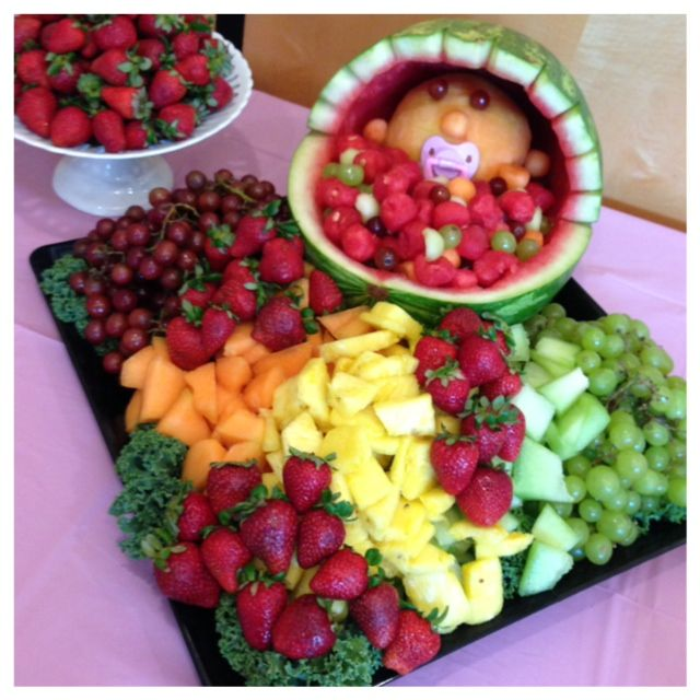 I made this baby bassinet fruit basket & platter for a baby shower.