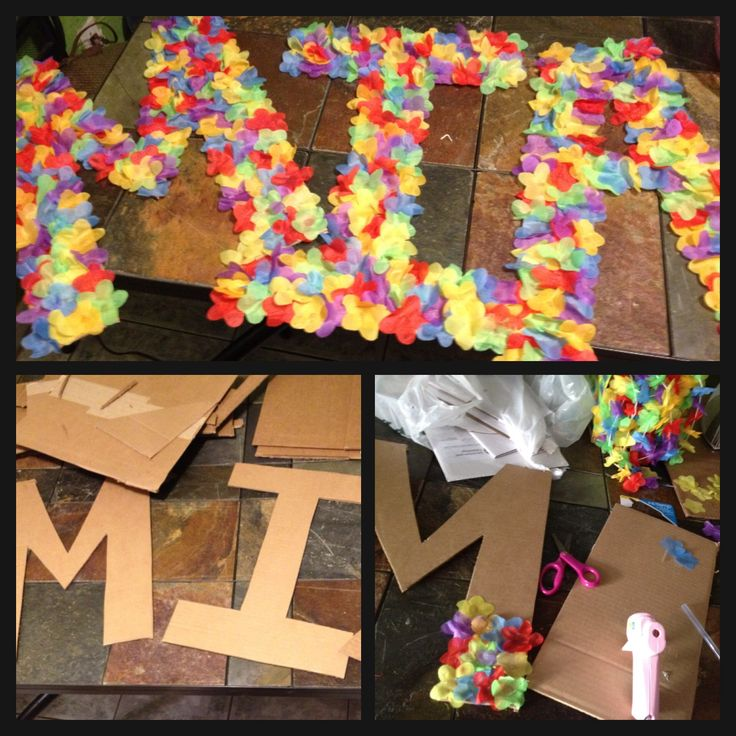 DIY Luau letters: cardboard and flowers from cheap lays