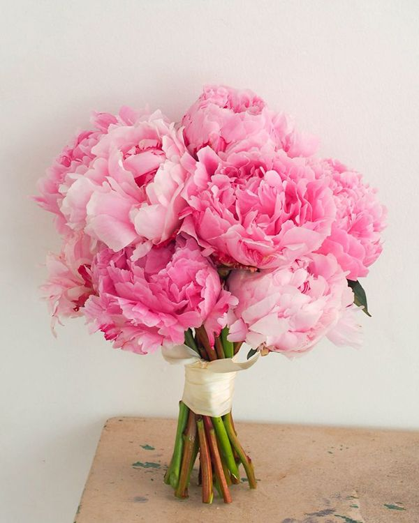 Pink peony bridal bouquet // Everything You Need to Know About Peonies for Your Wedding