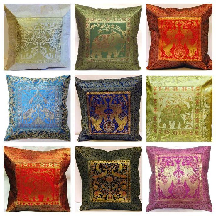Indian patchwork mandala sari ethnic vintage Banarsi cushion covers elephant 17