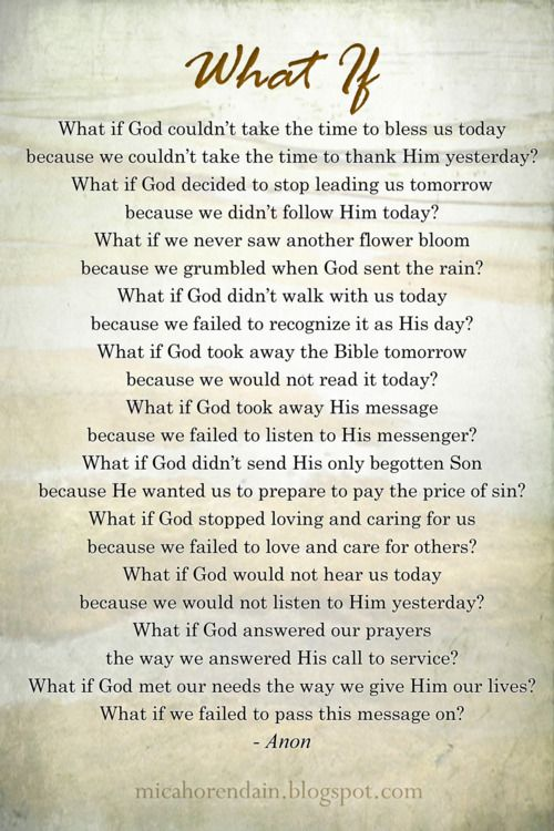 What if God...