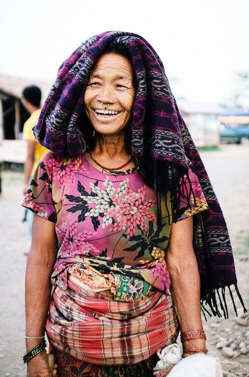 An elderly woman flashes her gorgeous smile in Chitwan, Nepal.