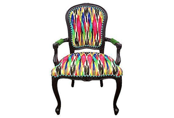 French arm chair designer ikat upholstery velvet pink blue aqua teal