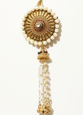 Ethnic Gold Pearl Chain Jhumka Saree Challa Waist Key Chain Satka