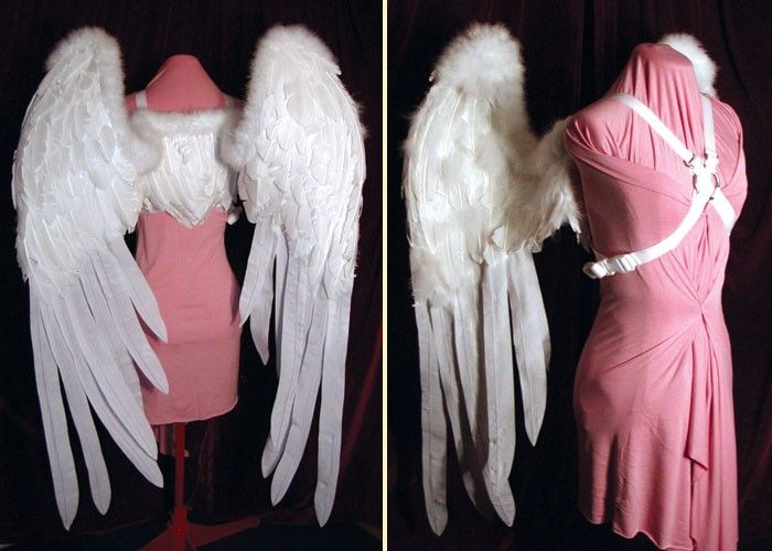 white feather fairy wings high quality and life size wearable art white feather angel wings costumeangel costumeshalloween - Halloween Costumes Angel Wings