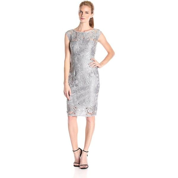 Adrianna Papell Women's Extended Shoulder Sequin Lace Sheath Dress ($76) ❤ liked on Polyvore featuring dresses, white dress, white cocktail dress, sheath cocktail dress, sheath dress and lace cocktail dress