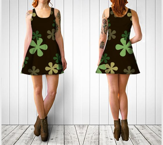 """Flare dress """"Camouflage Retro Flowers Flare Dress"""" by Cori-Beth's Originals at Art of Where."""