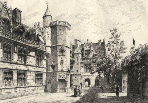L'Hôtel de Cluny et son jardin dans les années 1900 .