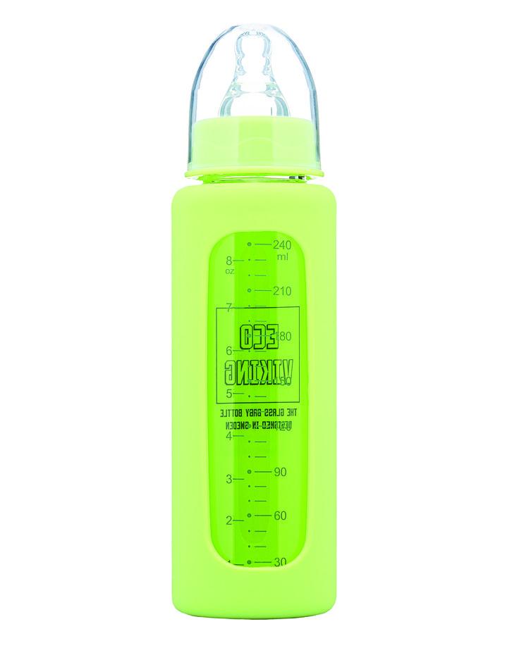 Nappflaska glas, 240 ml Grön med överdrag av BPA-fritt silikon, Eco Viking