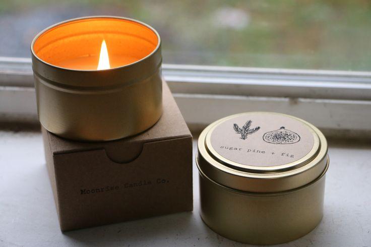 Sugar Pine + Fig tin candle. #soycandle #tincandle #sugar #pine #fig