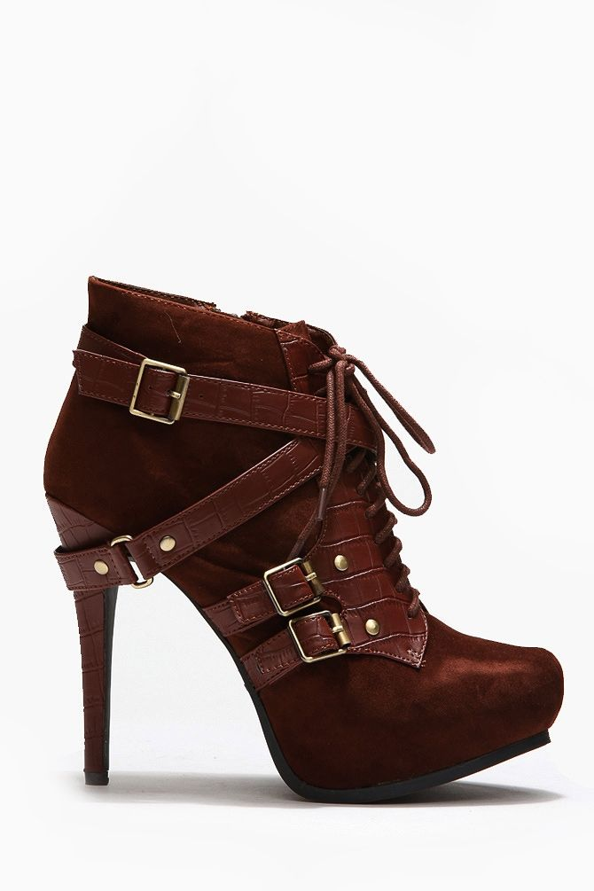 Textured Leather Lace Up Booties