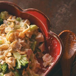 Broccoli Turkey Casserole Recipe from Taste of Home -- I've served this hearty casserole for after-Christmas luncheons, and everyone always asks for the recipe! —Muriel Shand, Isanti, Minnesota