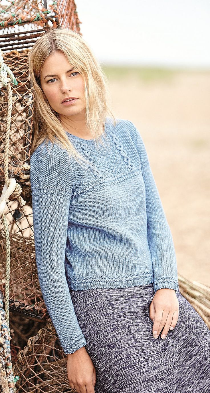 Женский пуловер спицами Kelsale в стиле свитеров гернси