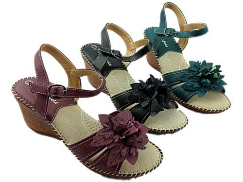 NEW! Ladies Lightweight Summer Wedge Sandals  Available in Plum, Black and Teal  £12.99