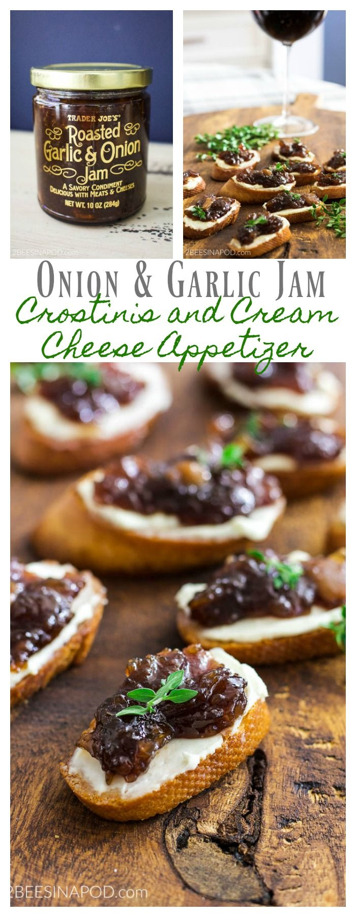 Easiest Onion & Garlic Jam Crostinis and Cream Cheese Appetizer. Party food. Holiday food. Christmas food. Christmas party food. Party appetizers. Easy appetizers. Trader Joe's food. Easy to make appetizers.