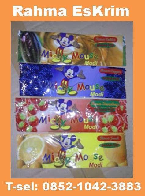 plastik kemasan es krim stik micky mouse ukuran 18x5,5cm