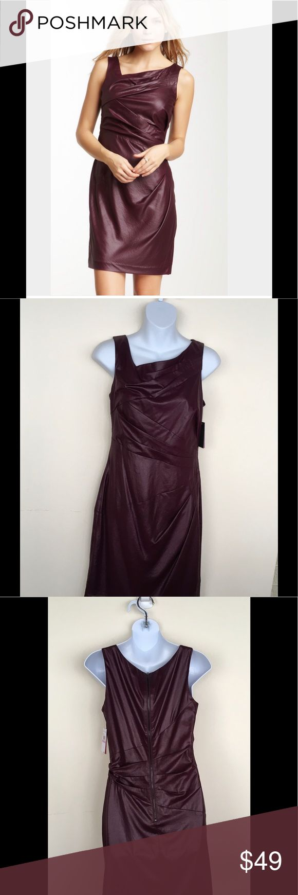 NEW Vince Camuto Deep Berry Dress Vince Camto dress in deep berry.  Has an almost leather like look.  Beautiful under a neutral jacket.  Fabulous with neutral high heel sandals for spring weddings and events.  Smoke free, pet free home Vince Camuto Dresses Mini