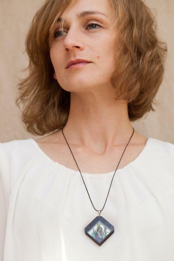 Botanical necklace Silver 925 necklace Ebony wooden by vzorko